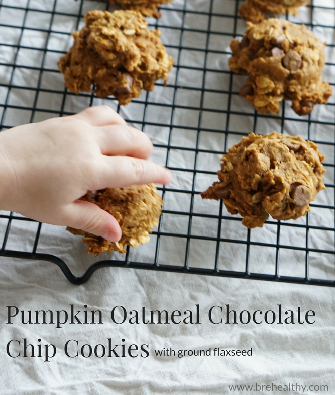 Pumpkin Oatmeal Chocolate Chip Cookies + Ground Flaxseed
